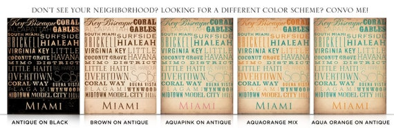 Miami Florida neighborhoods typography graphic art on canvas by stephen fowler