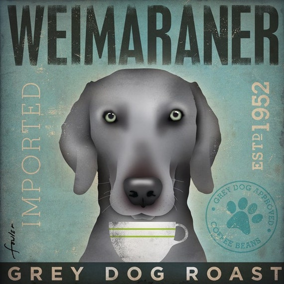 Weimaraner Coffee company vintage style graphic artwork on gallery wrapped canvas by stephen fowler