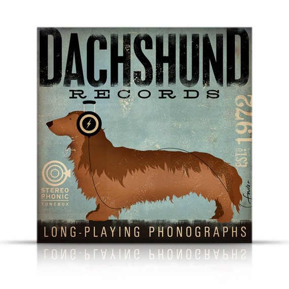 DACHSHUND longhaired records album style artwork on gallery wrapped canvas by stephen fowler