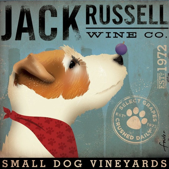 Jack Russell Wine Company original graphic illustration giclee archival signed 12 x 12 artist's print