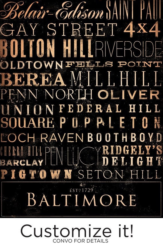 Baltimore Maryland neighborhoods typography graphic art on canvas 18 x 24 by stephen fowler