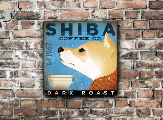 Shiba Inu Coffee Company dog graphic illustration on gallery wrapped canvas by stephen fowler