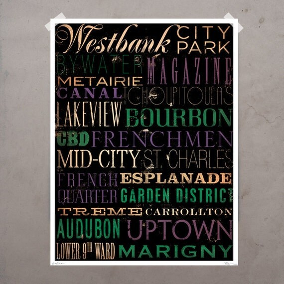 New Orleans Streets Typography graphic art giclee signed artist's print by stephen fowler