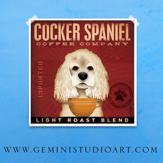 Cocker Spaniel Coffee Company original graphic illustration giclee signed artist's print by stephen fowler