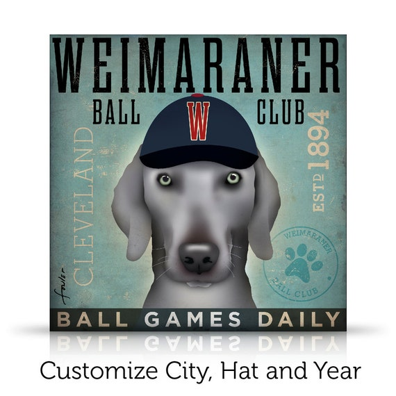 Weimaraner Baseball Club Graphic artwork on gallery wrapped canvas by CUSTOMIZE IT