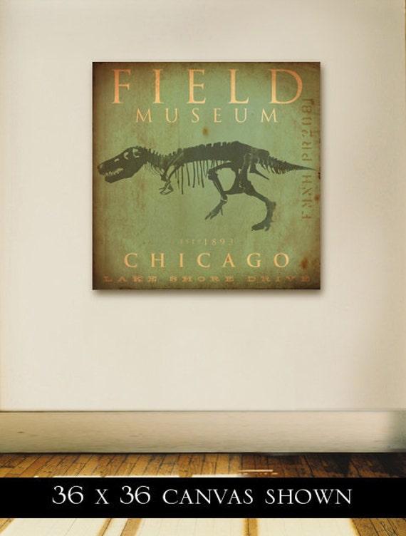 Field Museum Chicago Dinosaur Tyrannosaurus Rex Sue original graphic art on gallery wrapped canvas by stephen fowler