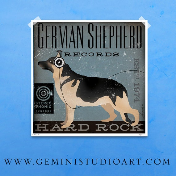 German Shepherd Hard Rock Records original illustration giclee archival signed artist's print by Stephen Fowler PIck a Size