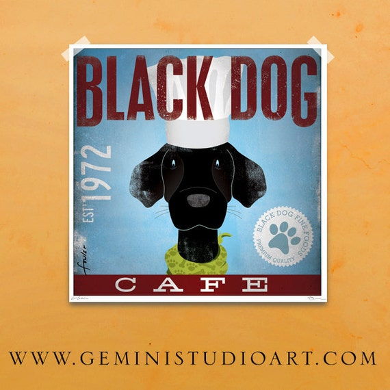 Black Dog Cafe original graphic art illustration hand signed giclee archival artists print by Stephen Fowler Pick A Size