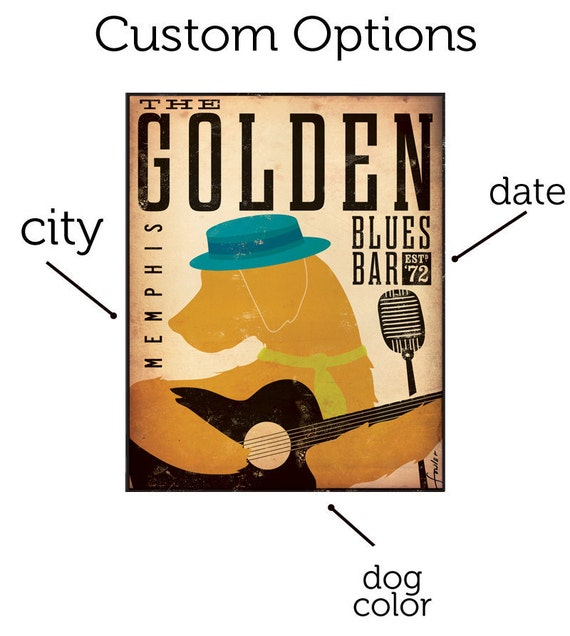 Golden Retriever Blues club original graphic illustration on gallery wrapped canvas by Stephen Fowler