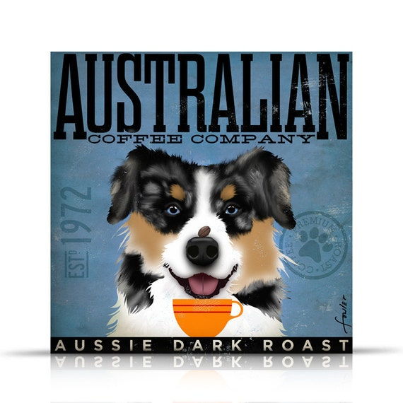 Australian Shepherd  Coffee Company original graphic illustration on gallery wrapped canvas by stephen fowler