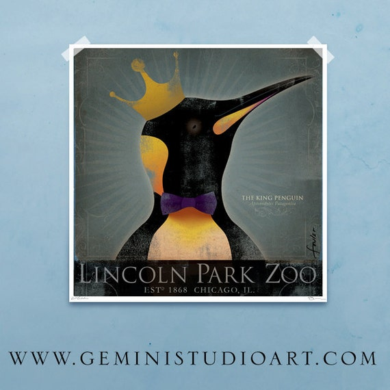 The King Penguin Lincoln Park Zoo Chicago vintage style artwork giclee print by stephen fowler