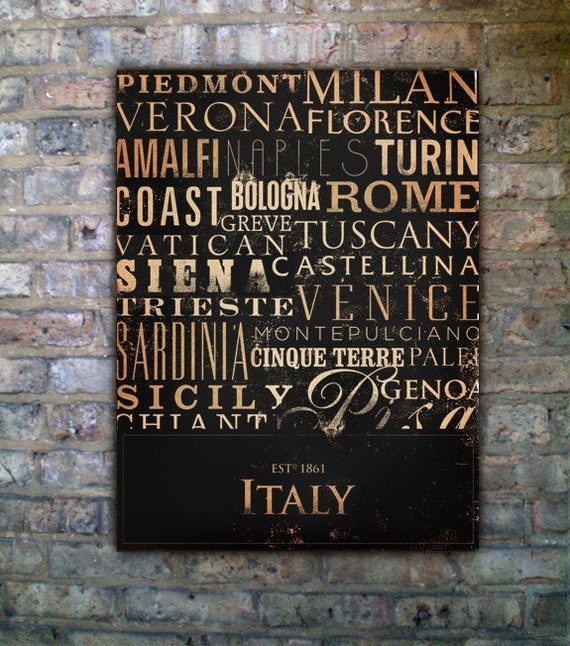 ITALY cities and regions typography original graphic on gallery wrapped canvas by stephen fowler