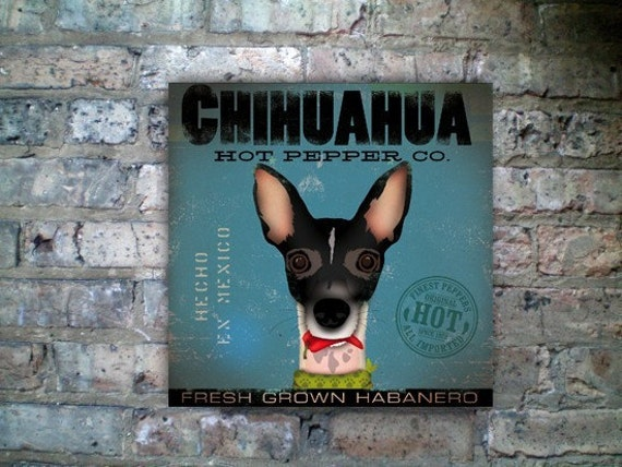 Chihuahua Hot Pepper Company original illustration graphic art on gallery wrapped canvas by stephen fowler