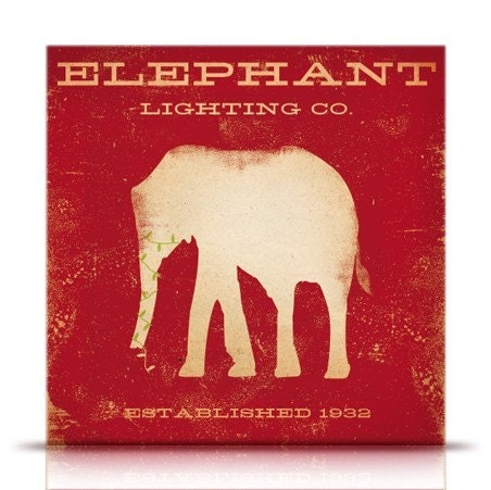 Elephant Lighting company vintage style holiday artwork on canvas panel by stephen fowler