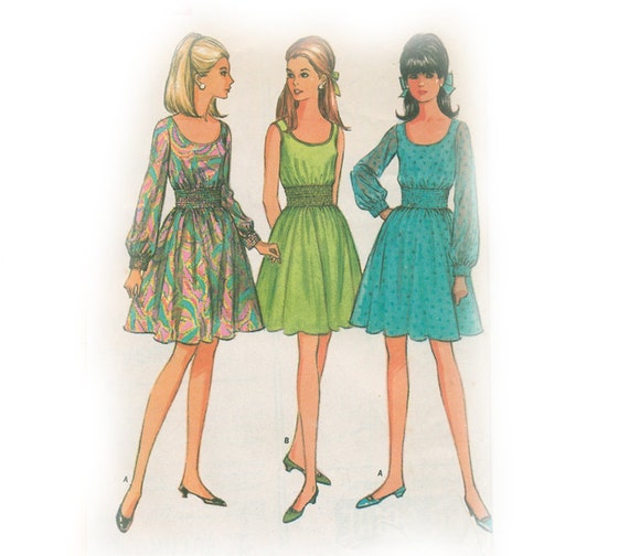 CLEARANCE: 1968 Cocktail Short Dress  Pattern - Sheer Sleeves - Uncut - Bust 32.5