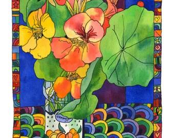 Nasturtiums in Jam Jar - Digital Fine Art Print