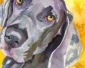 Weimaraner Dog Art Signed Print by Ron Krajewski
