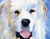 Great Pyrenees Art Print of Original Watercolor Painting - 8x10