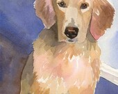 Golden Retriever Art Print of Original Watercolor Painting 11x14