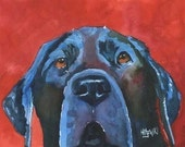 Labrador Retriever Art Print of Original Watercolor Painting - 8x10 Black Lab