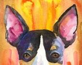 Rat Terrier Art Print of Original Watercolor Painting 11x14