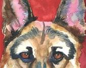 German Shepherd Art Print of Original Watercolor Painting - 8x10
