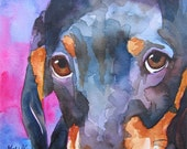 Dachshund Art Print of Original Watercolor Painting - 8x10 Dog Art