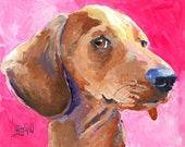 Dachshund Art Print of Original Acrylic Painting - 8x10 Dog Art