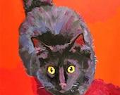 Black Cat Art Print of Original Acrylic Painting 8x10