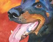 Doberman Pinscher Dog Art Signed Print by Ron Krajewski