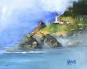 Heceta Head Lighthouse Art Print of Original Watercolor Painting 8x10