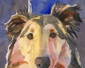 Collie Art Print of Original Watercolor Painting - 8x10