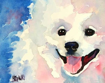 American Eskimo Dog Art Print of Original Watercolor Painting 11x14
