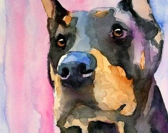 Doberman Pinscher Art Print of Original Watercolor Painting - 8x10