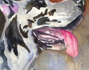 Great Dane Art Print of Original Watercolor Painting - 8x10 Dog Art