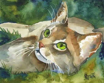 Abyssinian Cat Art Print of Original Watercolor Painting - 8x10