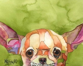 Chihuahua Art Print of Original Watercolor Painting - 11x14 Dog Art