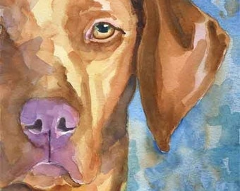 Vizsla Art Print of Original Watercolor Painting 11x14