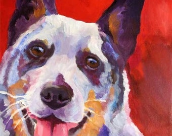 Australian Cattle Dog Art Print of Original Acrylic Painting - 11x14