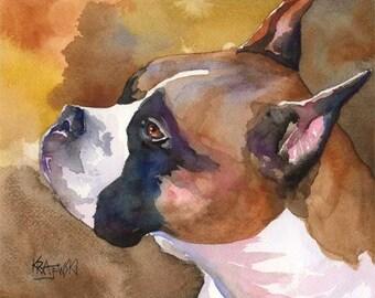 Boxer Art Print of Original Watercolor Painting - 11x14
