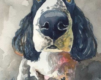 English Springer Spaniel Dog Art Print of Original Watercolor Painting - 11x14