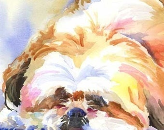 Shih Tzu Art Print of Original Watercolor Painting - 8x10