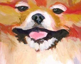 Pomeranian Art Print of Original Acrylic Painting - 8x10 Dog Art