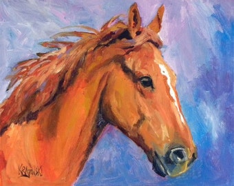 Chestnut Horse Art Print of Original Oil Painting 8x10