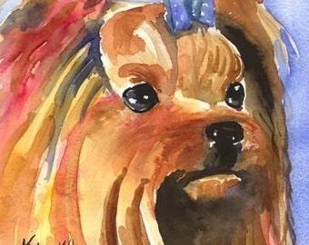 Yorkshire Terrier Art Print of Original Watercolor Painting - 8x10