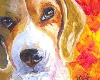 Beagle Art Print of Original Acrylic Painting - 8x10