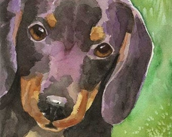 Dachshund Art Print of Original Watercolor Painting - 11x14 Dog Art