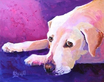 Labrador Retriever Art Print of Original Acrylic Painting - 11x14 Yellow Lab