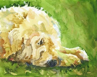 Wheaten Terrier Art Print of Original Watercolor Painting - 8x10
