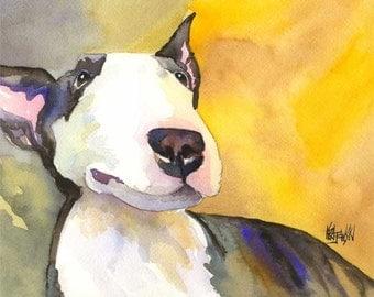Bull Terrier Art Print of Original Watercolor Painting 11x14 Dog Art